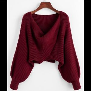 Burgundy Knit Cropped Twist Sweater Sz M Zaful